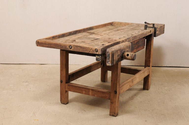 Early 20th Century Wooden Work Bench- Would Make Unique Extra Kitchen Work Space For Sale 3