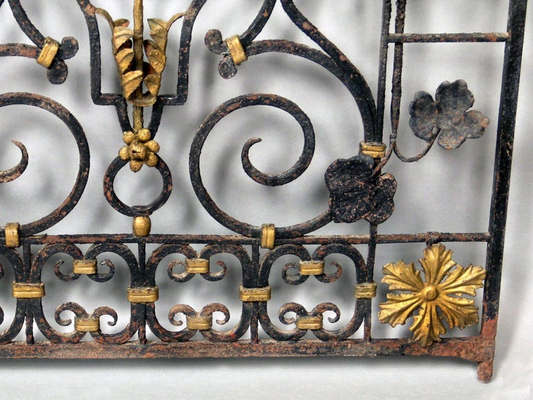 Wrought Iron Early 20th Century Art Deco Gold Painted Two-Door Iron Gate For Sale