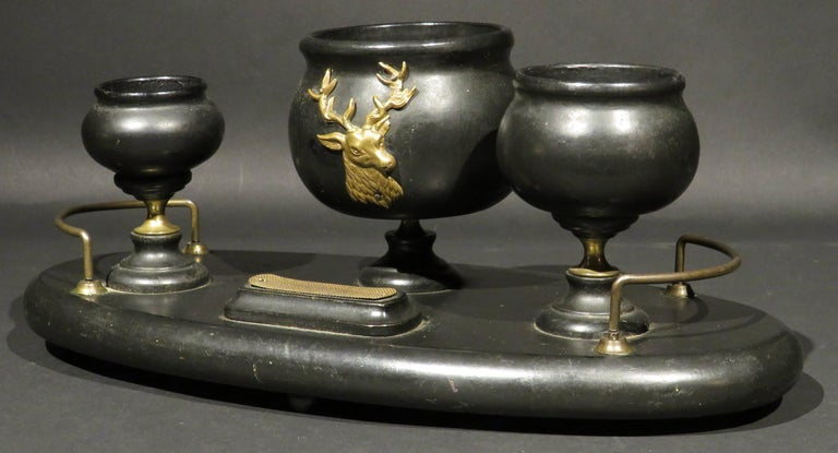 Victorian Early 20th Century Ebonized Wooden Desk-Top Smokers Set, Circa 1900 For Sale