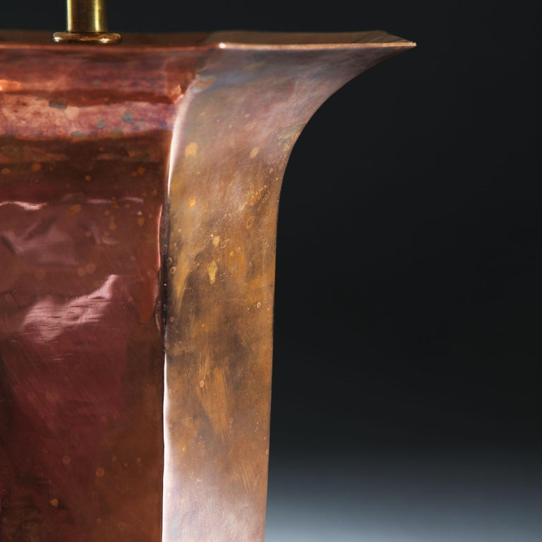 Early 20th Century French Octagonal Copper Vase as a Table Lamp In Good Condition For Sale In London, GB
