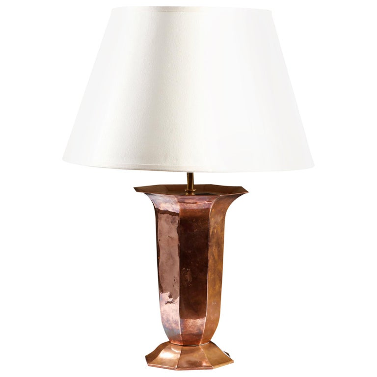 Early 20th Century French Octagonal Copper Vase as a Table Lamp For Sale