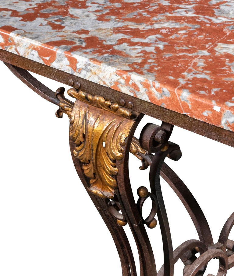 Belle Époque An Early 20th Century French Orange Marble-Top Table on Wrought Iron Base For Sale