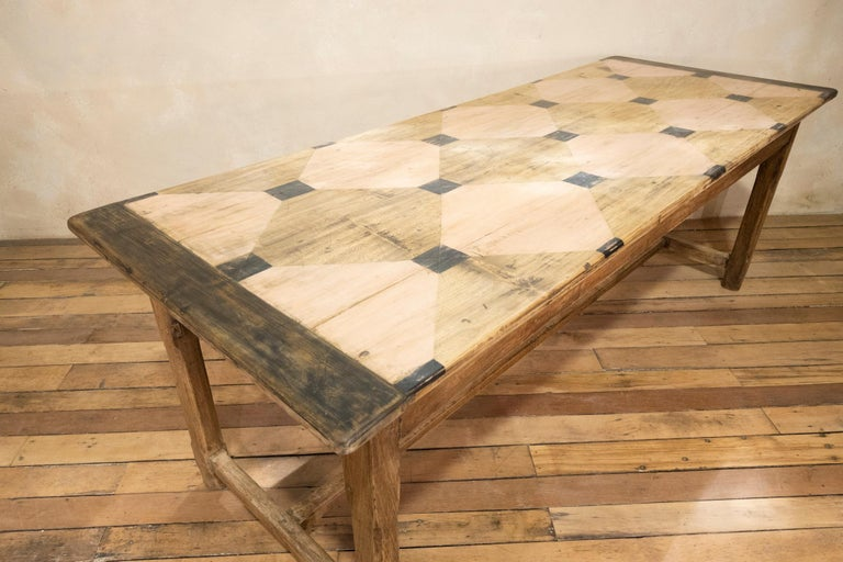 Early 20th century French Painted Refectory Farmhouse Table For Sale 6