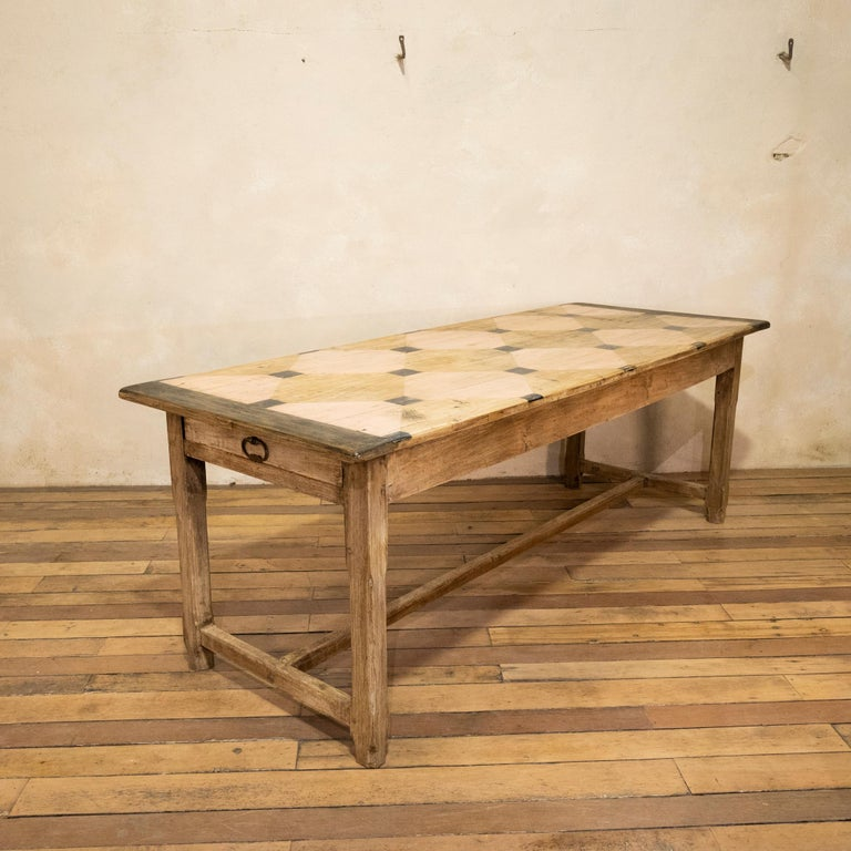 Early 20th century French Painted Refectory Farmhouse Table For Sale 8