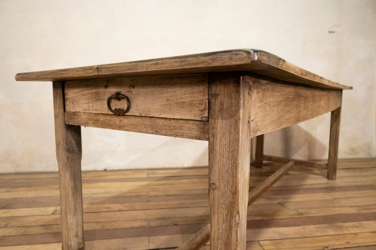 Early 20th century French Painted Refectory Farmhouse Table For Sale 9