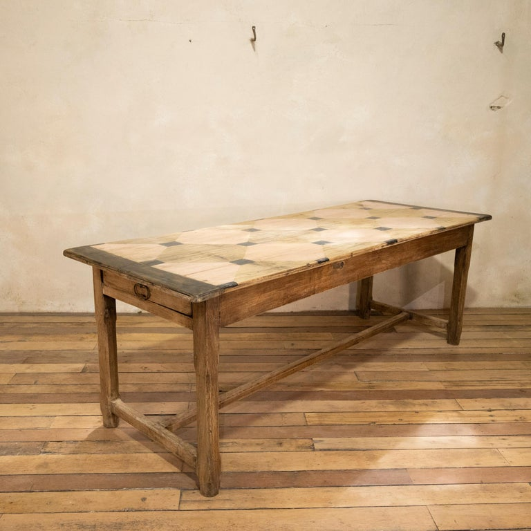 20th Century Early 20th century French Painted Refectory Farmhouse Table For Sale