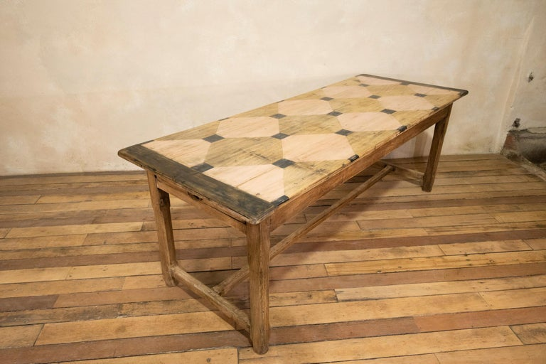 Oak Early 20th century French Painted Refectory Farmhouse Table For Sale