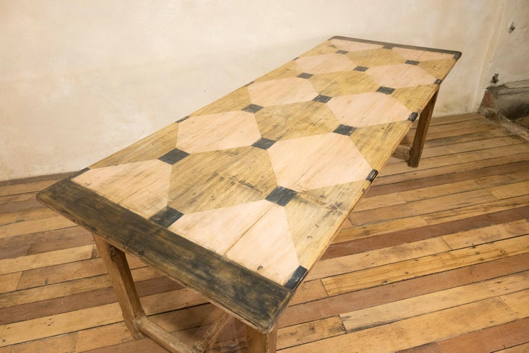 Early 20th century French Painted Refectory Farmhouse Table For Sale 1