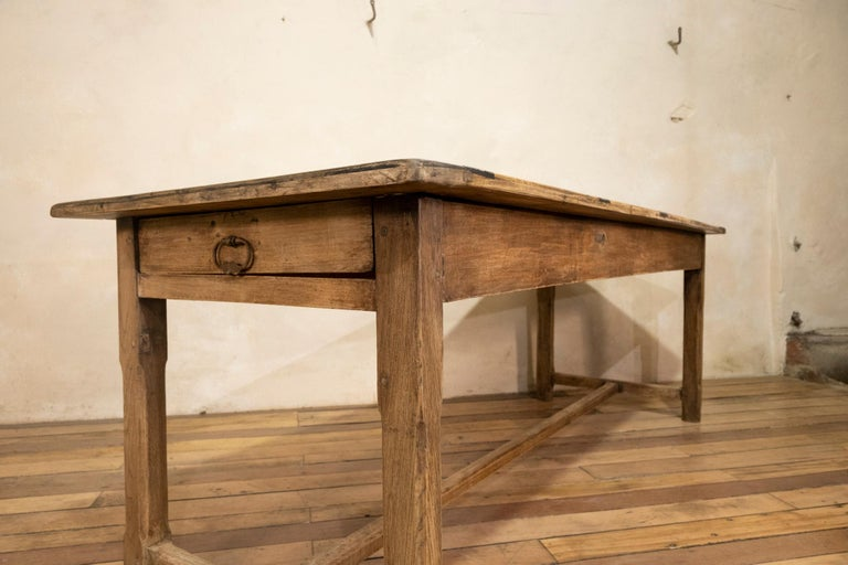 Early 20th century French Painted Refectory Farmhouse Table For Sale 2