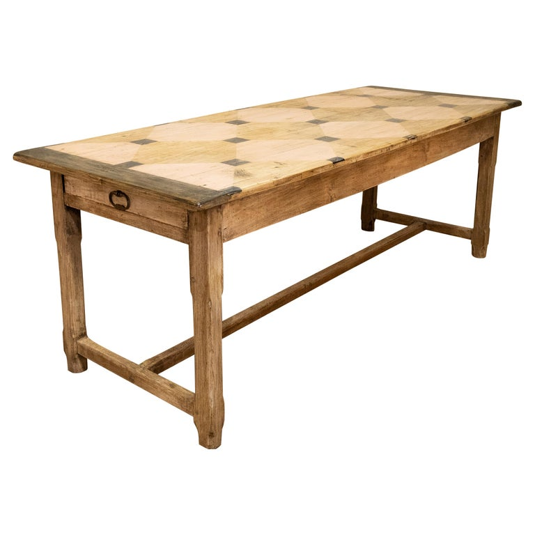 Early 20th century French Painted Refectory Farmhouse Table For Sale