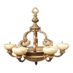 Early 20th Century Gilt Bronze and Carved Alabaster Nine-Light Chandelier