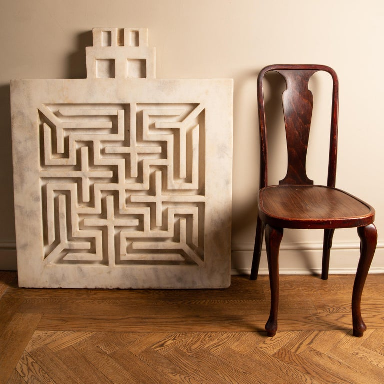 Chinese Early 20th Century Labyrinthine Marble Panel For Sale