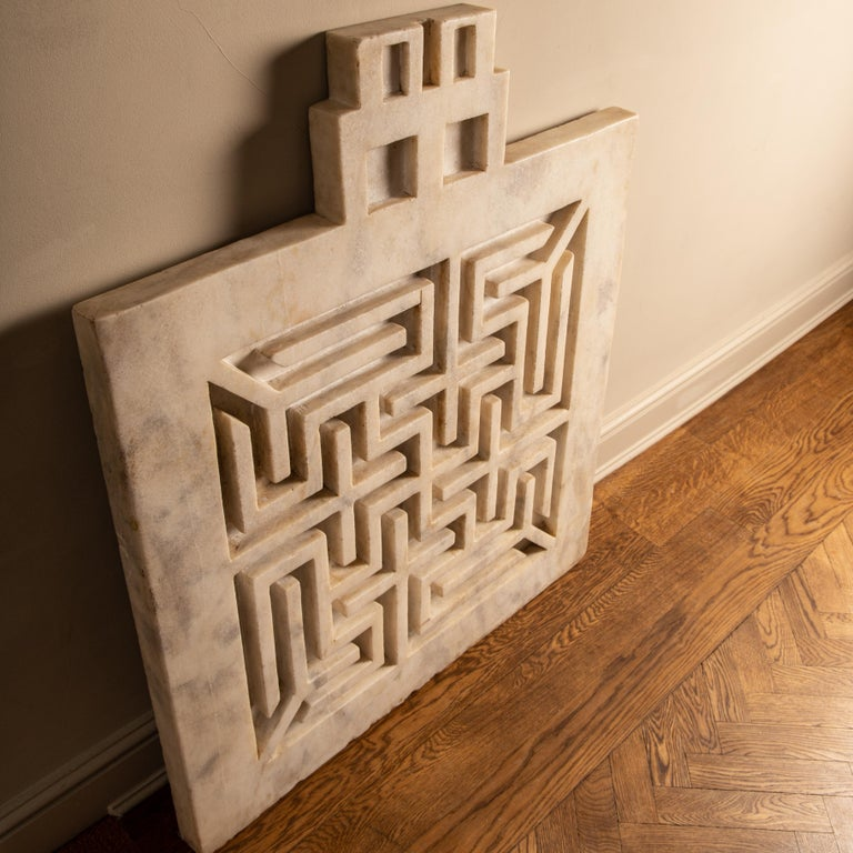 Carved Early 20th Century Labyrinthine Marble Panel For Sale