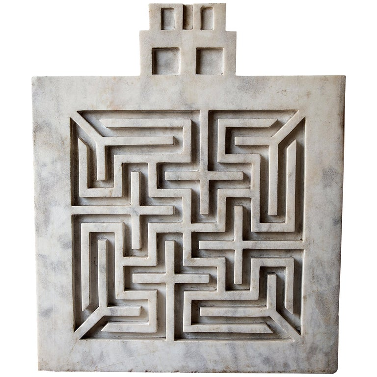 Early 20th Century Labyrinthine Marble Panel For Sale