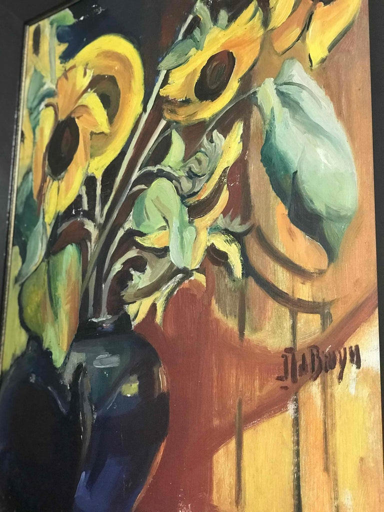 An early 20th century oil on canvas painting of sunflowers. Originating from Belgium, circa 1900.