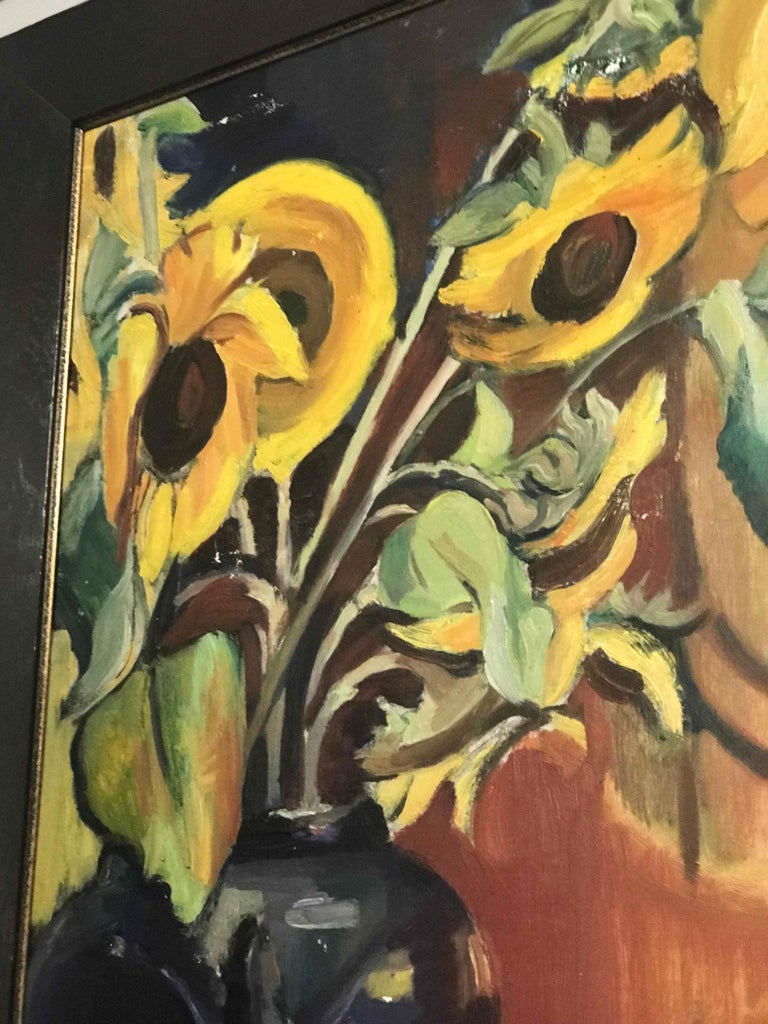 An Early 20th Century Oil Painting of Sunflowers on Canvas In Good Condition In Los Angeles, CA
