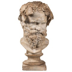 An Early 20th Century Plaster Bust of Bearded Silenus