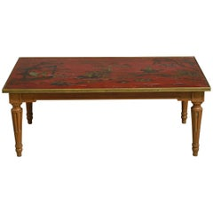 Early 20th Century Red Lacquer Low Table or Coffee Table