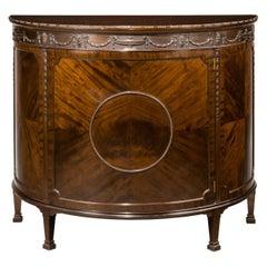 Early 20th Century Robert Adam Influenced Mahogany Demilune Cabinet