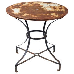 Early 20th Century Round Top Garden Table with Metal Base