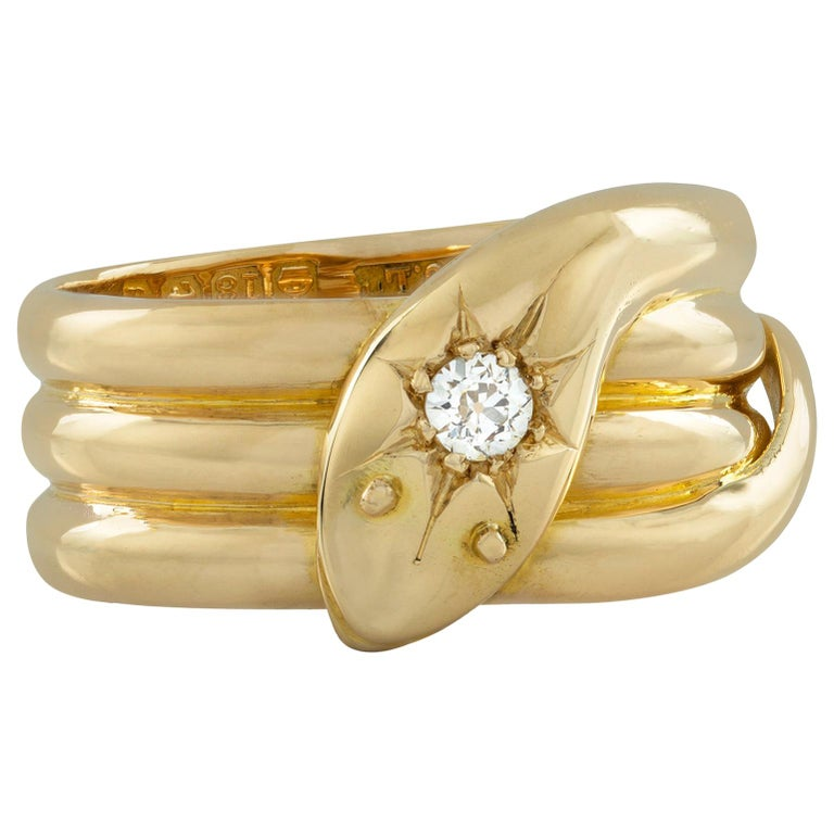 Early 20th Century Yellow Gold Serpent Ring For Sale