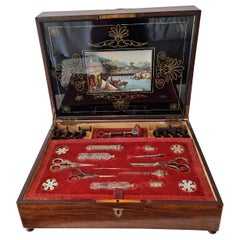 Early and Fine Musical Automaton Necessaire with Reverse Painted Glass