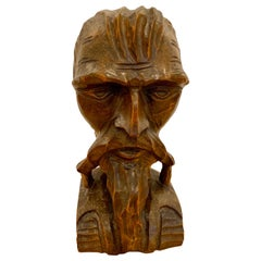 Early 20th Century Folk Art Carved Bust of a Bearded Gentleman