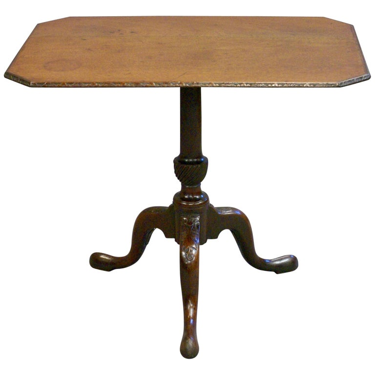 Early George III Period Mahogany Carved Tripod Centre Table, circa 1770