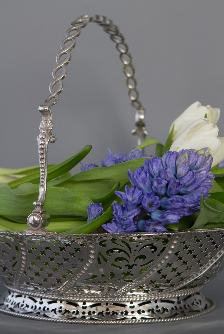 Sterling Silver Early Georgian Silver Basket, London 1761 by William Plummer For Sale