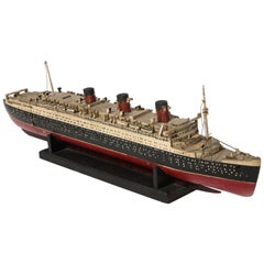 Early Handmade Wood Model of the RMS Queen Mary
