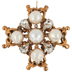 An early handmade gilt metal, pearl and paste 'cruciform' brooch, Chanel , 1950s