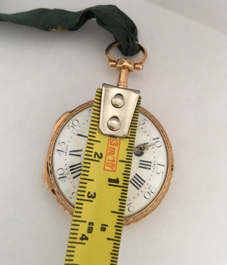Early and Rare Verge Fusee 18 Karat Gold Pocket Watch For Sale 6
