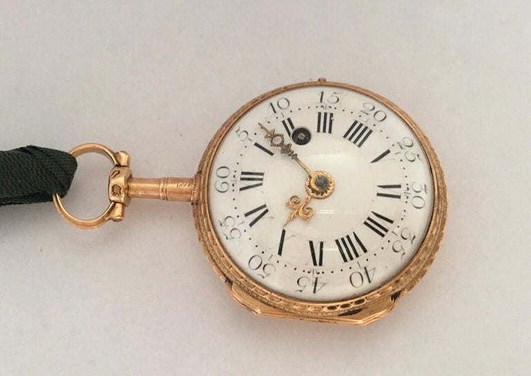 Early and Rare Verge Fusee 18 Karat Gold Pocket Watch For Sale 8