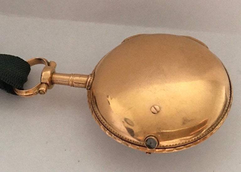 Early and Rare Verge Fusee 18 Karat Gold Pocket Watch For Sale 9