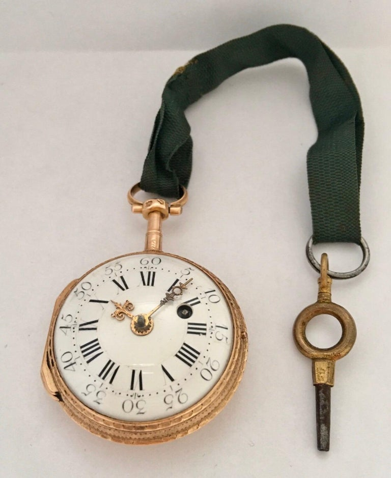 Early and Rare Verge Fusee 18 Karat Gold Pocket Watch For Sale 13