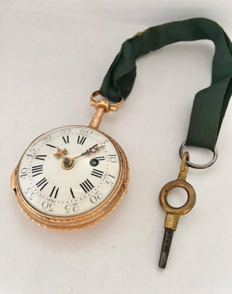 Early and Rare Verge Fusee 18 Karat Gold Pocket Watch For Sale 15
