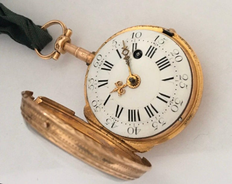 Women's or Men's Early and Rare Verge Fusee 18 Karat Gold Pocket Watch For Sale