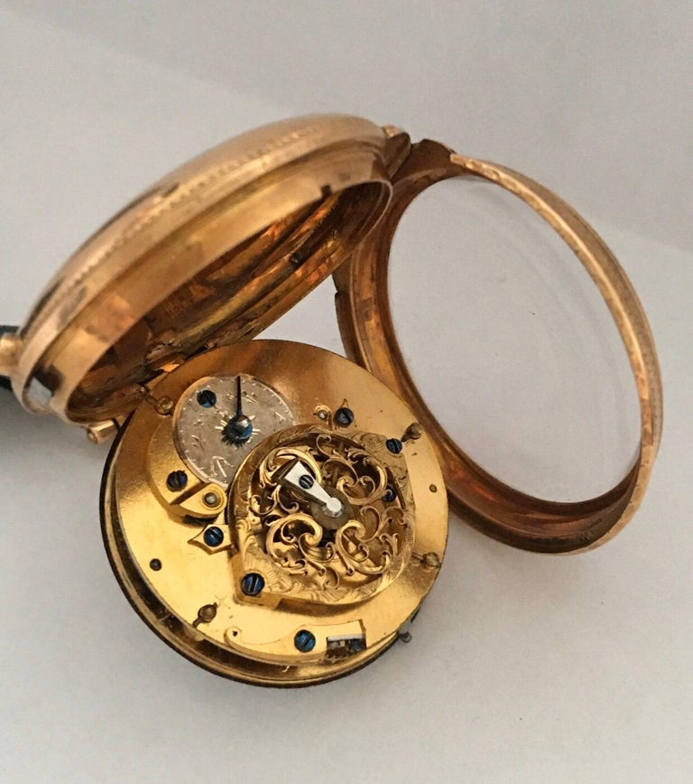 Early and Rare Verge Fusee 18 Karat Gold Pocket Watch For Sale 1