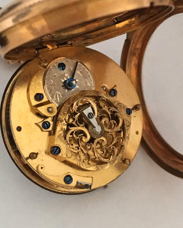 Early and Rare Verge Fusee 18 Karat Gold Pocket Watch For Sale 2