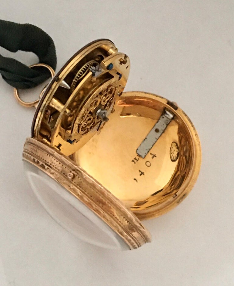 Early and Rare Verge Fusee 18 Karat Gold Pocket Watch For Sale 4
