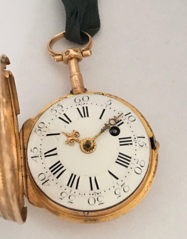 Early and Rare Verge Fusee 18 Karat Gold Pocket Watch For Sale 5