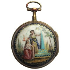 Early Rare Verge Fusee Enamel Pocket Watch Signed Van.Den.Bruel A Lille
