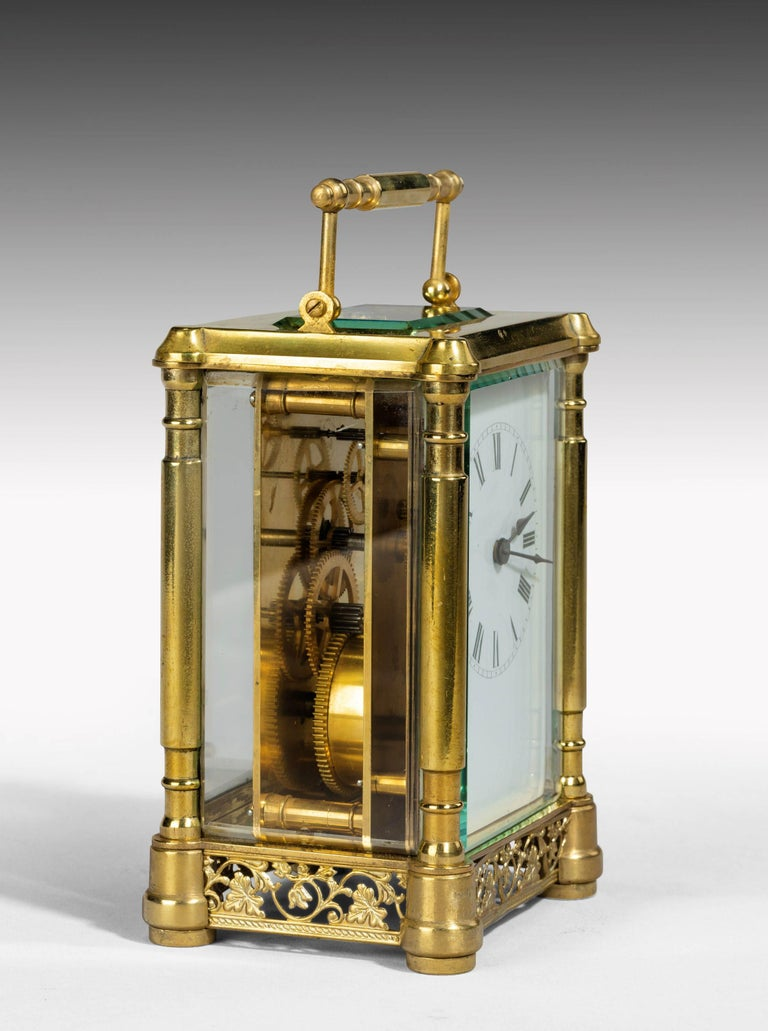 Early 20th Century French Brass Case Carriage Clock For Sale 2