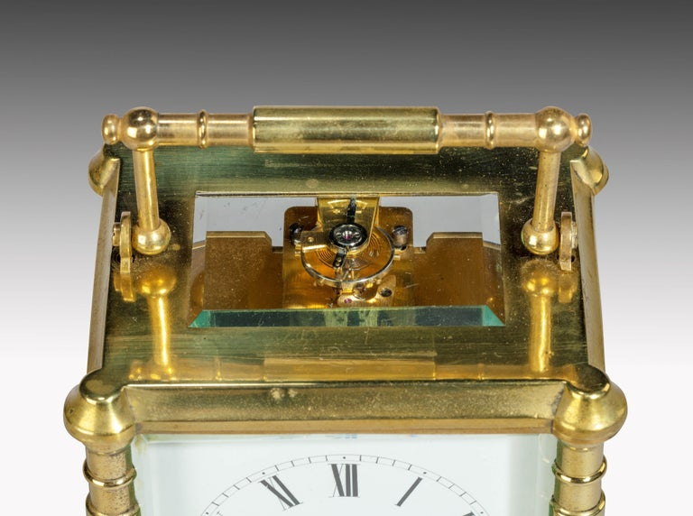 Early 20th Century French Brass Case Carriage Clock For Sale 3