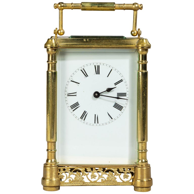 Early 20th Century French Brass Case Carriage Clock For Sale