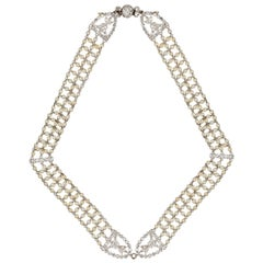 A Early Twentieth Century Seed Pearl and Diamond Choker