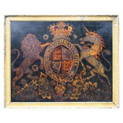 Early Victorian 19th Century Painted Royal Coat of Arms Armorial