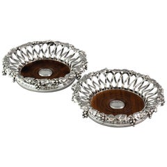 Early Victorian Pair of Silver Plate Wine Coasters, circa 1840