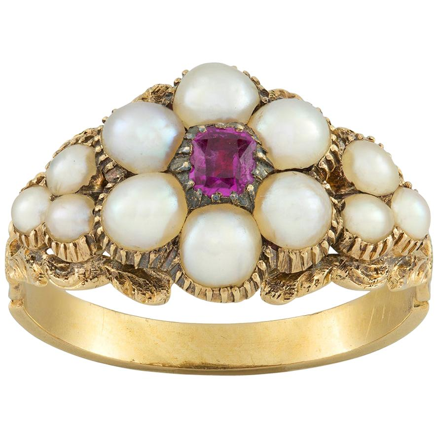 Early Victorian Pearl and Ruby Cluster Ring
