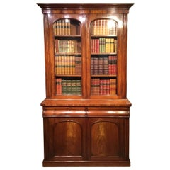 Early Victorian Period Flame Mahogany Antique Bookcase